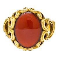 Art Nouveau Carnelian 14 Karat Gold Whiplash Unisex Ring