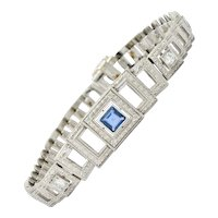 Bailey Banks & Biddle Art Deco 1.30 CTW Sapphire Diamond Platinum Square Link Bracelet