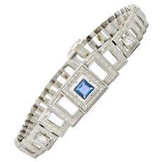 Bailey Banks & Biddle Art Deco 1.30 CTW Sapphire Diamond Platinum Square Link Bracelet