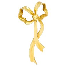 1985 Tiffany & Co. Vintage 18 Karat Gold Ribboned Bow Brooch