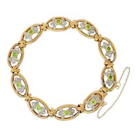 French Edwardian Demantoid Garnet Diamond Platinum-Topped 18 Karat Gold Link Bracelet