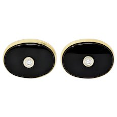 Lindsay & Co. Retro 0.25 CTW Diamond Onyx 14 Karat Gold Cufflinks