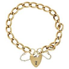 Antique 9 Karat Gold British Heart Padlock Charm Bracelet