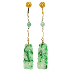 Retro Jade Natural Freshwater Pearl 14 Karat Gold Screwback Earrings