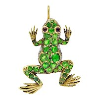 Edwardian Demantoid Garnet Diamond Platinum-Topped 18 Karat Gold Frog Charm
