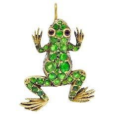 Edwardian Demantoid Garnet Diamond Platinum-Topped 18 Karat Gold Frog Charm