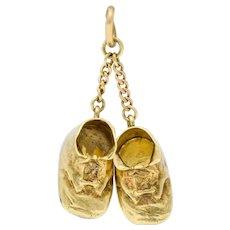 Sloan & Co. Retro 14 Karat Gold Baby Shoe Charm Circa 1940