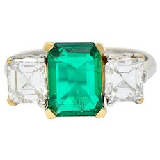 Mid-Century 3.28 CTW Colombian Emerald Asscher Diamond 18 Karat Gold Ring AGL