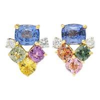 1990's 15.63 CTW Multi-Sapphire Diamond 18 Karat Gold Platinum Cluster Earrings GRS