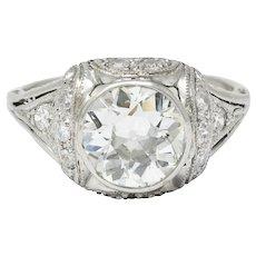 Edwardian 2.05 CTW Diamond Platinum Filigree Engagement Ring GIA