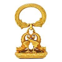 Art Nouveau Citrine 14 Karat Gold Sea Serpent Dragon Fob Pendant