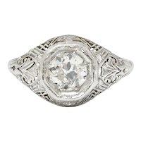 Early Art Deco 0.75 CTW Diamond 14 Karat White Gold Engagement Ring