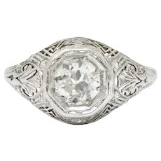 Early Art Deco 0.75 CTW Diamond 14 Karat White Gold Engagement Ring