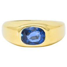 Schlumberger Tiffany & Co. Vintage 2.85 CTW No Heat Ceylon Sapphire 18 Karat Gold Unisex Ring