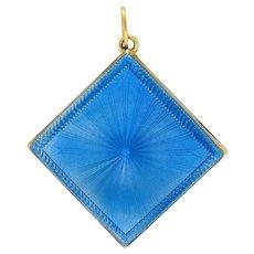 Art Deco Blue Enamel 14 Karat Gold Square Locket Pendant Charm