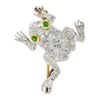 Edwardian Diamond Demantoid Garnet Platinum-Topped 14 Karat Gold Frog Brooch