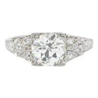 Art Deco 2.31 CTW Diamond Platinum Square Form Engagement Ring GIA
