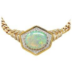 1980's Vintage Opal Diamond 18 Karat Two-Tone Gold Statement Necklace