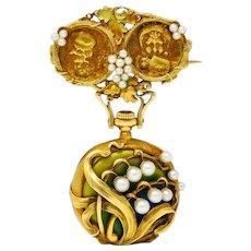 Art Nouveau Pearl Enamel 18 Karat Two-Tone Gold Foliate & Grape Watch Brooch