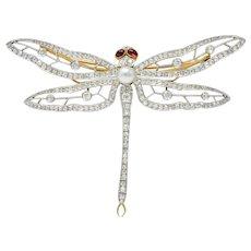 Substantial Edwardian Spinel Pearl Diamond Platinum 18 Karat Gold Dragonfly Brooch