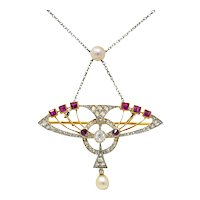 Edwardian Pearl 2.25 CTW Diamond Ruby Platinum-Topped 18 Karat Gold Swag Pendant Brooch Necklace