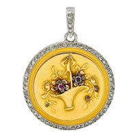 Edwardian French Diamond Platinum-Topped 18 Karat Gold Giardinetto Locket Necklace Pendant
