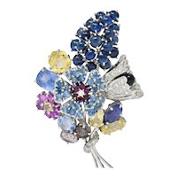 Retro 25.90 CTW Sapphire Diamond 14 Karat White Gold Bouquet Brooch