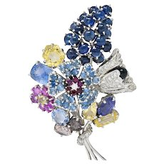 Retro 25.90 CTW Sapphire Diamond 14 Karat White Gold Bouquet Brooch