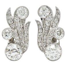 Retro 4.15 CTW Old European Diamond 18 Karat White Gold Ear-Clip Earrings