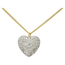 Edwardian 3.75 CTW Diamond Platinum-Topped 14 Karat Gold Pave Heart Pendant Necklace