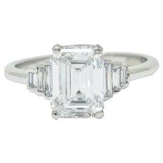 Contemporary 2.20 CTW Emerald Cut Diamond Platinum Engagement Ring GIA