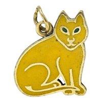 Art Deco Yellow Enamel 14 Karat Gold Cat Charm