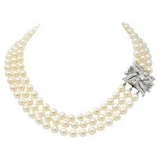 Retro 1.70 CTW Diamond Cultured Pearl 14 Karat White Gold Multi-Strand Necklace & Brooch