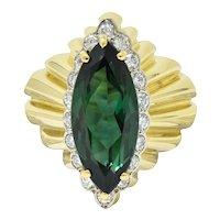 Impressive Cartier 1970's Vintage Green Tourmaline Diamond 18 Karat Gold Statement Ring