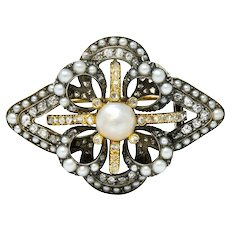 1860's Victorian Pearl Diamond Silver-Topped 18 Karat Gold Floral Brooch