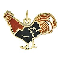 Art Deco Enamel 14 Karat Gold Rooster Charm