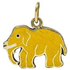 1920's Art Deco Yellow Enamel 14 Karat Gold Elephant Charm