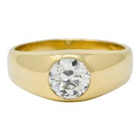 1920's Peacock 1.75 CTW Old European Cut Diamond 14 Karat Gold Unisex Ring
