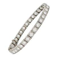 1930's Art Deco 5.90 CTW Diamond Platinum Line Bracelet