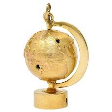 1960's Litacharm Inc. Vintage 14 Karat Gold Globe Pendant Charm