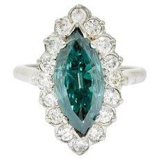 Vintage 2.60 CTW Fancy Green Diamond & White Diamond Halo Platinum Cluster Ring
