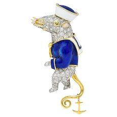 Donald Claflin Tiffany & Co. Pave Diamond Enamel Pearl Platinum 18 Karat Gold Sailor Mouse Brooch