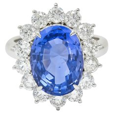 9.63 CTW No Heat Ceylon Sapphire Diamond Platinum Cluster Ring GIA