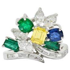 Retro 3.17 CTW Diamond Sapphire Emerald Platinum Bypass Cluster Ring