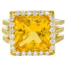 Contemporary Heliodor Golden Beryl Diamond Halo 18 Karat Gold Cocktail Ring