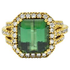 Contemporary Green Tourmaline Diamond Halo 18 Karat Gold Cocktail Ring