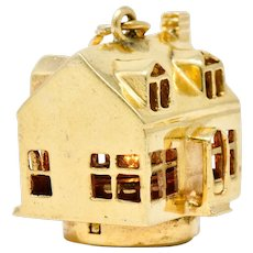 1960's Litacharm Inc. Vintage 14 Karat Gold House Pendant Charm