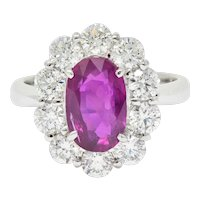 Contemporary 4.66 CTW No Heat Ruby Diamond Platinum Cluster Ring GIA
