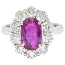 Contemporary 4.66 CTW No Heat Ruby Diamond Platinum Cluster Ring GIA
