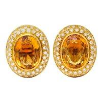 1960's Vintage Citrine 2.50 CTW Pave Diamond 18 Karat Gold Oval Earrings